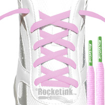 RocketInk Soft pink athletic laces with Clover Green tips.