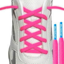 RocketInk Neon Pink laces with Sky Blue tips.
