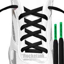 Black athletic oval laces with Clover Green tips.