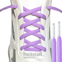 RocketInk Pastel Purple athletic shoelaces with Light Gray tips.