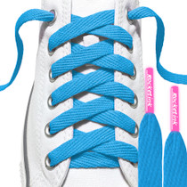 RocketInk Sky Blue laces with Neon pink tips.