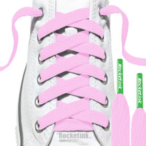 RocketInk Soft Pink laces with Clover Green tips.
