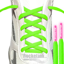 NEON GREEN OVAL LACES WITH NEON PINK TIPS