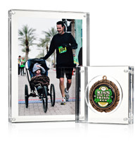 """Picture frame with Small (4"""") Medal Block medal display"""