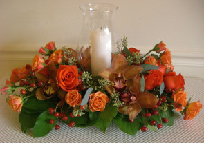 Thanksgiving hurricane centerpiece - Flower Shop Northbrook IL - Jan Channon Flowers