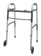 "Dual Button Folding Walker with 5"" Wheels EA 1"