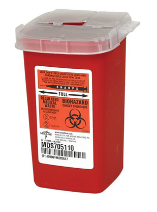 Medline Sharps Container Biohazard Disposal Needle, 32 Ounce (MDS705110)