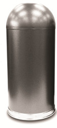 Silver Vein Granite Metal 15 Gallon Open Dome Top Trash Can
