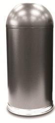 Silver Vein Granite Metal 15 Gallon Open Dome Top Trash Can