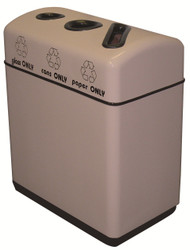 36 Gallon Fiberglass Three Opening Recycling Bin with Plastic Liner