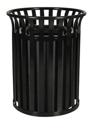 36 Gallon Metal Outdoor Street Scape Trash Can Black