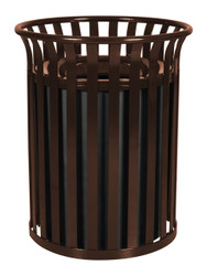 36 Gallon Metal Outdoor Street Scape Trash Can Brown