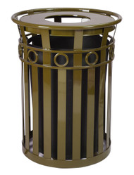 Witt Industries 36 Gallon Oakley M3600FT Outdoor Waste Receptacle Brown