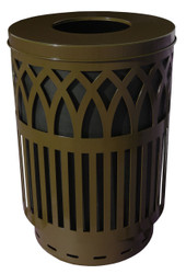 40 Gallon Covington Metal Outdoor City Trash Can Park Garbage Can Brown