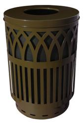 40 Gallon Covington Metal Outdoor City Trash Can Park Garbage Can Brown