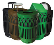 40 Gallon Covington Metal Outdoor City Trash Can Park Garbage Can 3 Colors