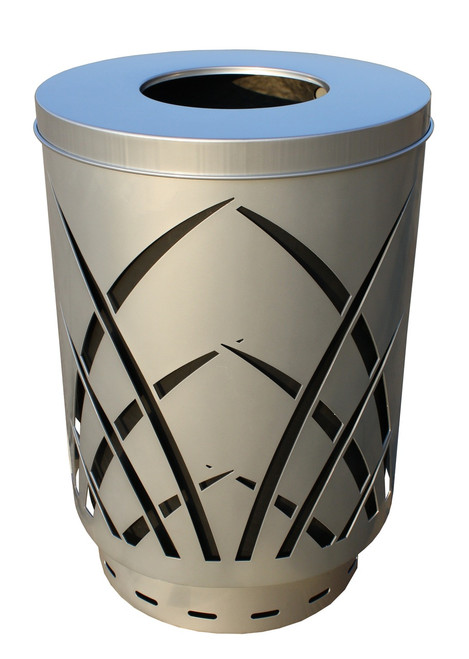 40 Gallon Laser Cut Saw Grass Outdoor Waste Container Silver