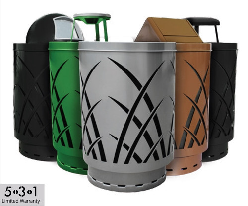 40 Gallon Laser Cut Saw Grass Outdoor Waste Container 5 Colors