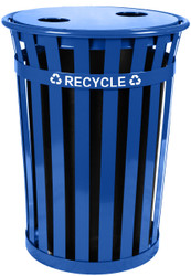 Witt Oakley 36 Gallon Metal Recycling Outdoor City Trash Can