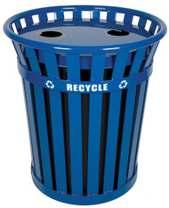 Wydman 36 Gallon Metal Recycling Outdoor Park Trash Can