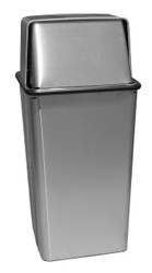13 Gallon Metal Stainless Steel Push Top Trash Can 13HTSS