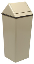 Metal 13 Gallon Swing Top Square Waste Receptacle 1311HT Almond