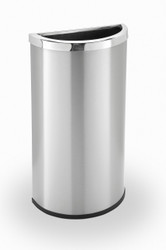 8 Gallon Half Round Stainless Steel Trash Can Garbage Can