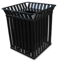Witt Industries 36 Gallon Oakley M3601SQ Square Steel Trash Can Black