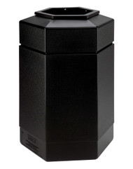 30 Gallon All Season Indoor Outdoor Hexagon Plastic Garbage Can Black