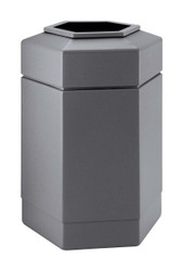 30 Gallon All Season Indoor Outdoor Hexagon Plastic Garbage Can Gray