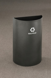 16 Gallon Half Round Open Top Recycling Trash Can