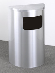 12 Gallon Half Round Side Opening Trash Can with Hinged Lid Satin Aluminum