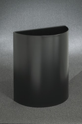 29 Gallon Half Round Open Top Trash Can Satin Black