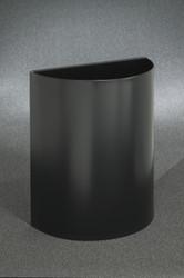 29 Gallon Half Round Open Top Trash Can Satin Black