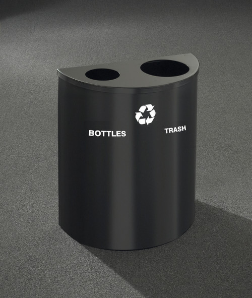 29 gallon dual half round recycling trash can hinged lid 29 colors. Black Bedroom Furniture Sets. Home Design Ideas