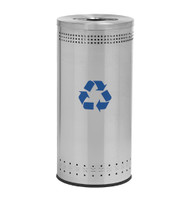 25 Gallon Precision Series Imprinted Stainless Steel Recycling Trash Can