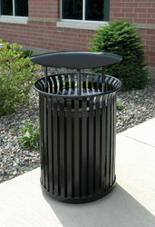 34 Gallon Steel Outdoor Covered Waste Receptacle MF3203