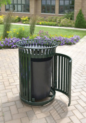25 Gallon Metal Outdoor Waste Receptacle with Side Door MF3202