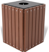 Square Wood or Plastic Trash Can With Optional Lid