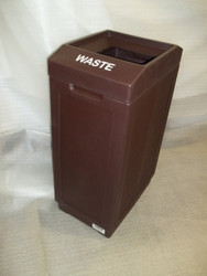 39 Gallon Indoor Outdoor Forte Open Top Plastic Waste Can Brown