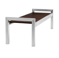 Wood Bench with Stainless Steel Legs 5 Foot