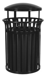 36 Gallon SCD-2633 Metal Outdoor Streetscape Covered Trash Can (3 Color Choices)