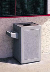 30 Gallon Concrete Outdoor Waste Container TF1240 shown with Optional Ashtray Exposed Aggregate Misty Gray