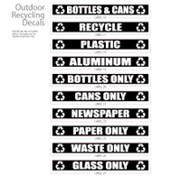White Decals for Outdoor Commercial Recycle Bins OUTDOORLABELS