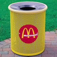 30 Gallon Round Metal Mesh Custom Logo Funnel Lid Trash Can CLMF3001