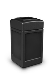 42 Gallon All Season Indoor Outdoor Square Plastic Garbage Can Black