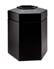 45 Gallon All Season Indoor Outdoor Hexagon Plastic Garbage Can Black
