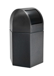45 Gallon Hexagon Plastic Indoor Outdoor Garbage Can with Dome Lid Black