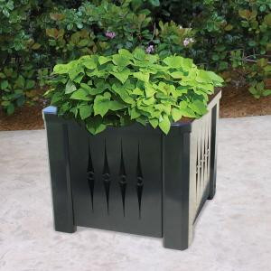 Square Steel Metal Planter with Liner with Plant