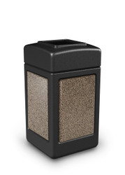 42 Gallon StoneTec Indoor Outdoor Stone Panel Plastic Trash Can Black Riverstone